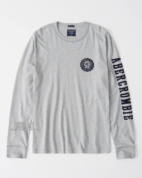 【零時差美國時尚網】A&F真品Abercrombie&Fitch LONG-SLEEVE APPLIQUE TEE長T灰