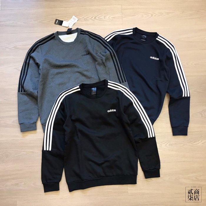 (貳柒商店) adidas SweatShirt 男款 刷毛 大學T 黑灰藍 EI8993 EI8994 EI8995