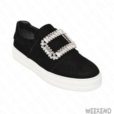 【WEEKEND】 ROGER VIVIER Sneaky Viv 絲絨 鑲鑽 休閒鞋 懶人鞋 黑色 17秋冬新款