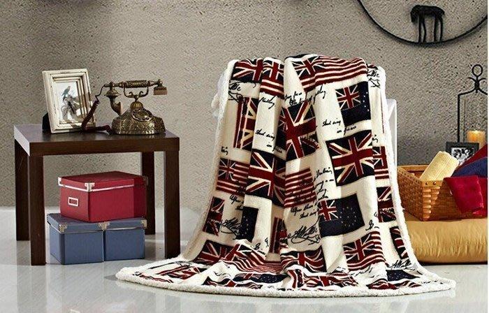 羊羔絨法蘭絨空調毯 雙層加厚兒童毛毯子英國國旗休閑蓋毯-小英旗[布拉格家居]