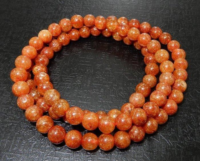 [天祥水晶]~天然鈦晶紅銅鈦紅鈦晶手珠手鍊6.5mm圓珠繞手3圈項鍊~