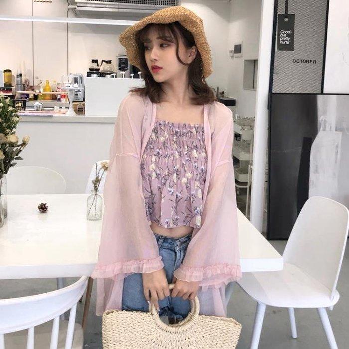 韓版寬鬆百搭純色休閒薄款長袖雪紡衫防曬衣