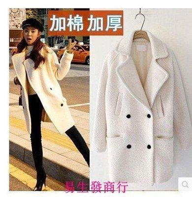 【易生發商行】韓範冬季加棉加厚羊毛呢外套女韓版 中長款修身學生呢子大衣韓國F6366