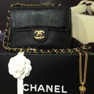Chanel mini coco 18cm 蜥蜴金鍊包vintage 老香稀有限量