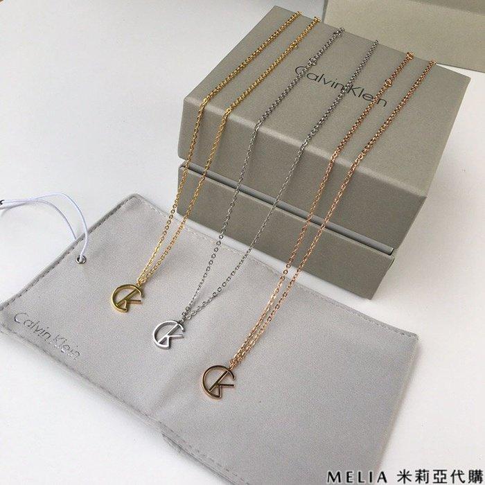 Melia 米莉亞代購 美國代買 Calvin Klein CK 8月新品 項鍊 專櫃新款 CK標誌 真空電鍍 三色