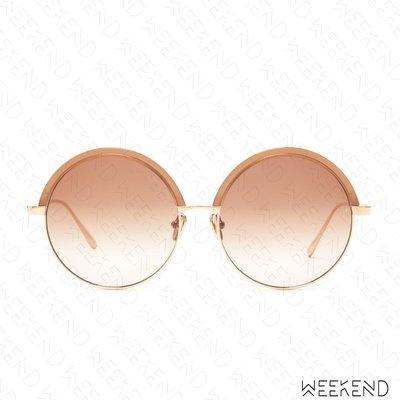 【WEEKEND】 LINDA FARROW Annie C7 圓形 墨鏡 太陽眼鏡 玫瑰金框 棕色鏡面