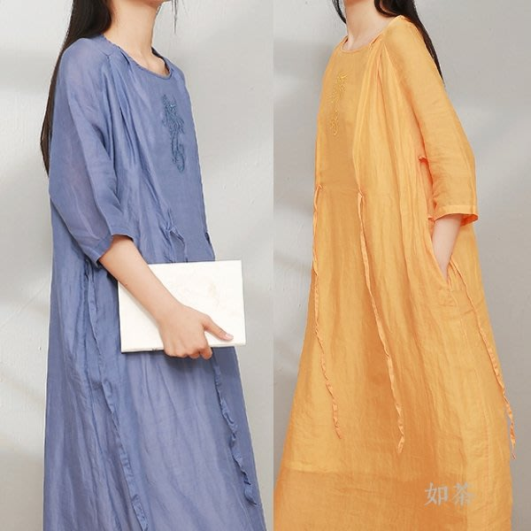 【如茶】2020雙層苧麻繫帶刺繡長款連衣裙洋裝