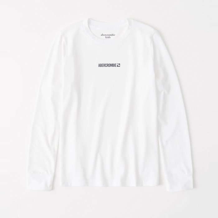 【abercrombie kids】【a&f】af男童款長袖T恤印小黑字鹿白 F07191118-34
