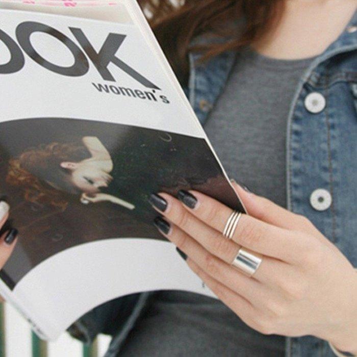 《現貨》 明星同款S925純銀時尚個性極簡寬面光面開口戒指 食指中指無名指關節戒 生日情人聖誕節禮物 Baoni 寶妮子