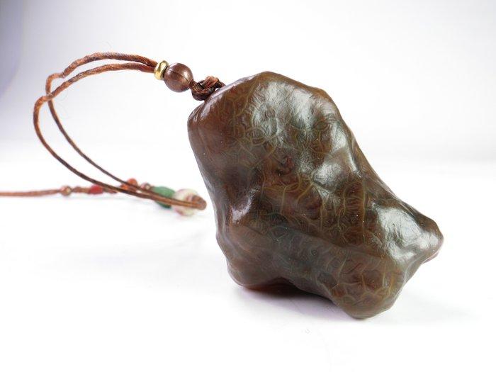 文玩推薦精品大顆戈壁瑪瑙血脈瑪瑙搭老琉璃珠手把件 脈紋奇美 包漿老辣