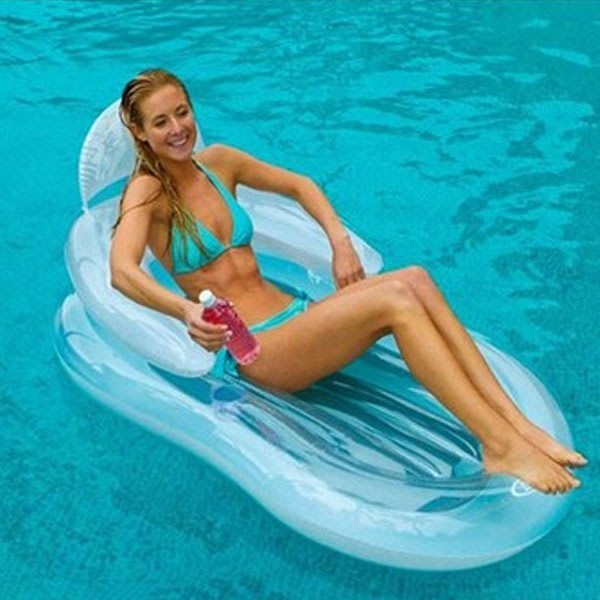 5Cgo【批發】含稅會員有優惠 20913023705 水上充氣浮排水上充氣床浮板泳圈充氣遊泳池豪華靠背充氣座椅氣墊