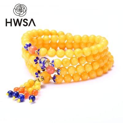 玉手镯 玛瑙 HWSA天然蜜蠟手串女款108顆趙薇代言 波羅的海雞油黃琥珀蜜蠟手鏈
