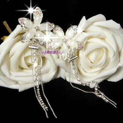 ~~║野玫屋║~~新娘飾品~婚紗禮服 攝影舞台配飾~氣質甜美 流蘇冰晶鑽耳夾