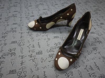 義大利製  L'AUTRE CHOSE 高級圓點飾尼龍面真皮粗跟鞋 EUR 36 USA 6 JPN 23 CM