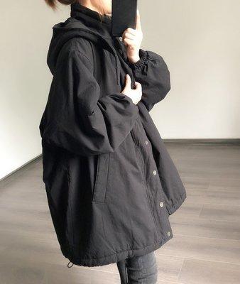 3色 S-3XL韓國韓系鋪棉外套保暖中長風衣 bf風寬鬆顯瘦大衣 大尺碼黑色 正韓質感 SISTERXOXO KOREA