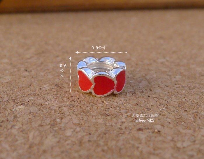 ☆~水晶森林手創館~*☆彩袖紅愛心墜子diy材料925純銀~串珠手鍊配件 蠶絲蠟線材料必備