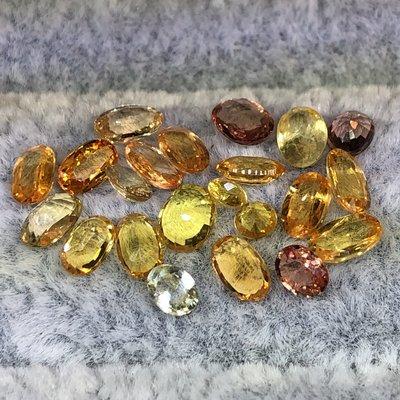 (寶石晶色)1克拉天然彩色藍寶石/黃、橘色剛玉。橢圓型/切面。一顆0.25~0.5克拉,隨機出貨。(大小顆,秤重計價)