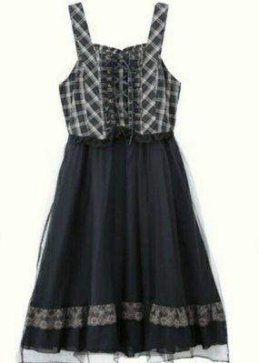 日本原宿品牌Axes femme格紋蕾絲雪紡洋裝