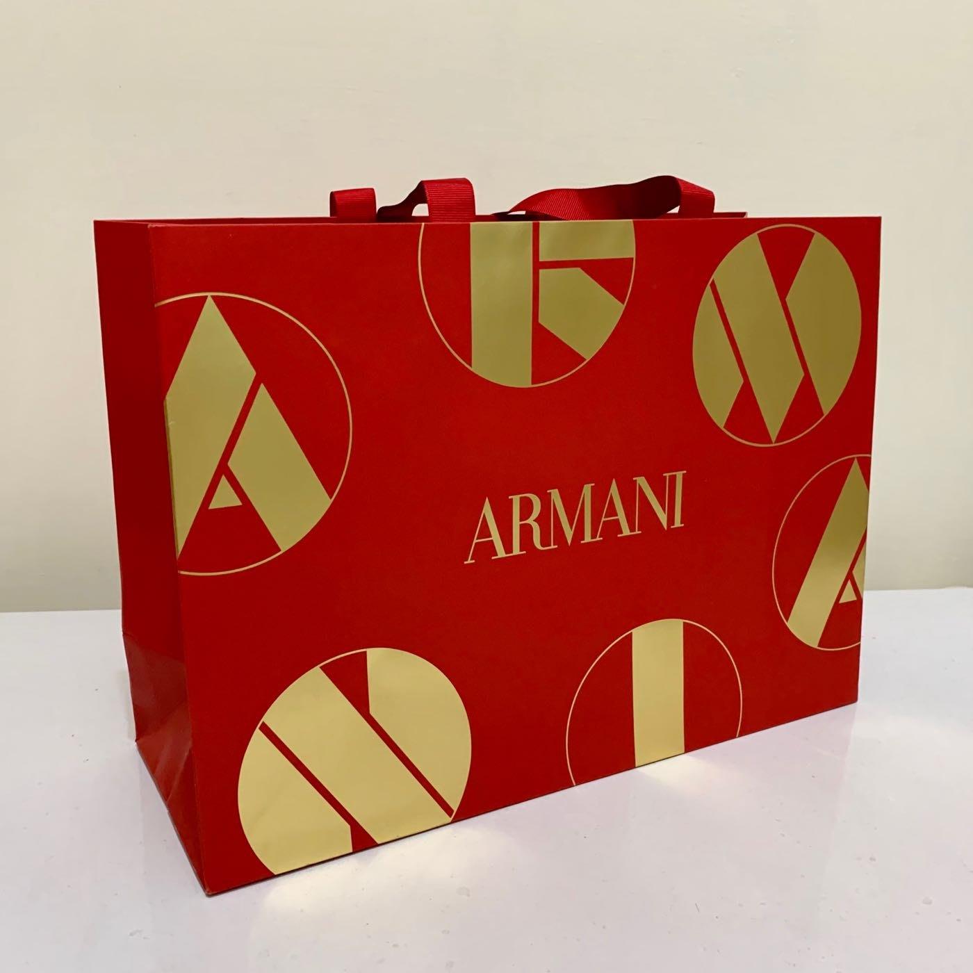 全新 Armani 亞曼尼 紅色 金色 燙金 印花 喜氣 紙袋/提袋/禮品包裝袋