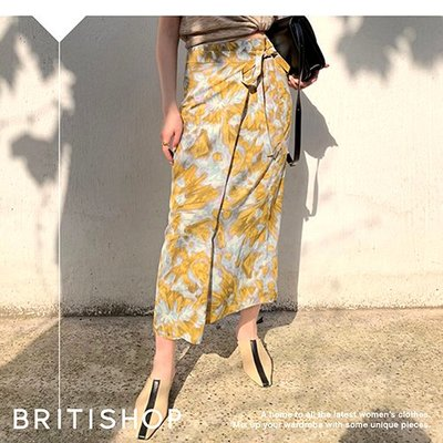 BRITISHOP= 歐美 法式 復古 梵谷風 繪畫 印花 高腰 一片式 及膝裙 ARKET最愛 特價1450