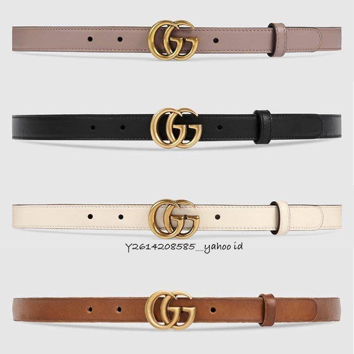 【代購】Gucci GG LOGO 女用 細版 2cm 皮帶