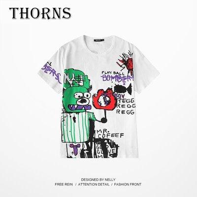 【THORNS】下身失蹤t恤男女短袖百搭嘻哈怪味少女生帥氣酷酷的上衣服潮ins