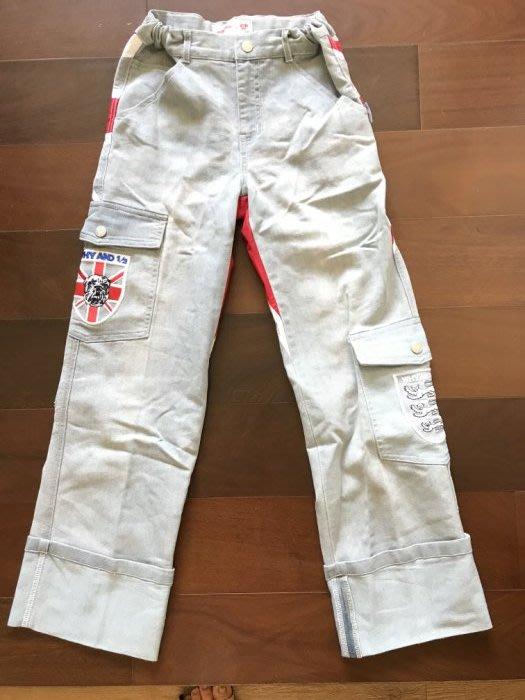 全新洗過沒穿過 Why & 1/2 經典英倫風刺繡水洗帥氣牛仔褲-11/135cm-低價起標