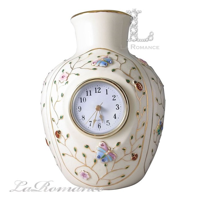 【芮洛蔓 La Romance】Luxury Art - 水晶彩蝶系列花瓶時鐘 / 桌鐘 / 花器