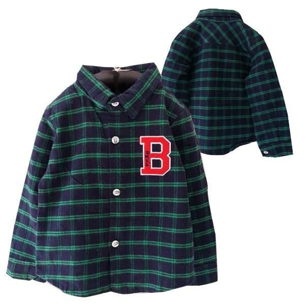 【班比納精品童裝】B字綠線小方格襯衫-藍
