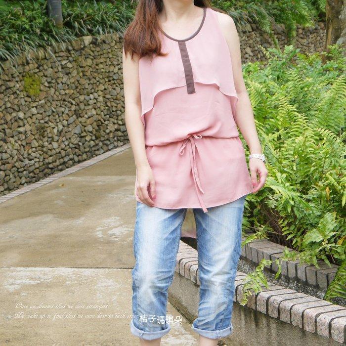 正韓 韓國連線 多層紗造型雪紡洋 抽繩腰(粉紅、黑)~桔子瑪琪朵。惠衣
