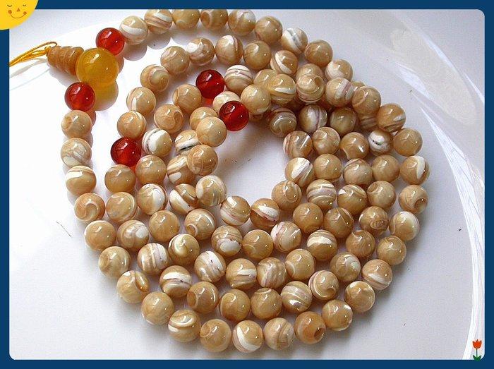 【雅之賞|藏傳|佛教文物】*特賣*天然銀線硨磲(8.5mm)108顆佛珠~Q729