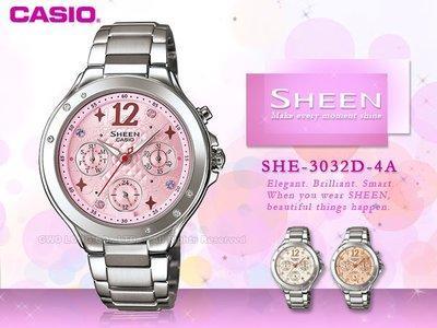 CASIO 手錶專賣店 國隆 CASIO SHEEN_ SHE-3032D系列_4A /  7A /  9A_保固一年_發票 台中市
