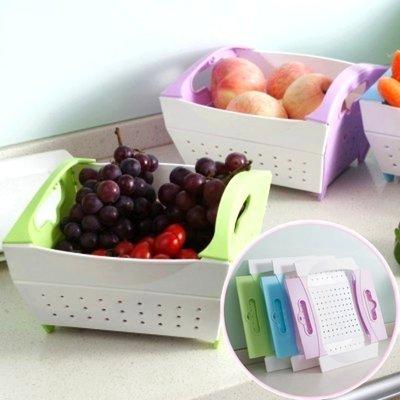 可折疊蔬菜水果瀝水籃 收納籃 洗菜籃 水果籃-艾發現