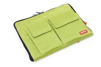 【優力文具】日本LIHIT LAB. A5多功能分類收納包(A-7553 薄型袋中袋)可當包書套*黃綠色