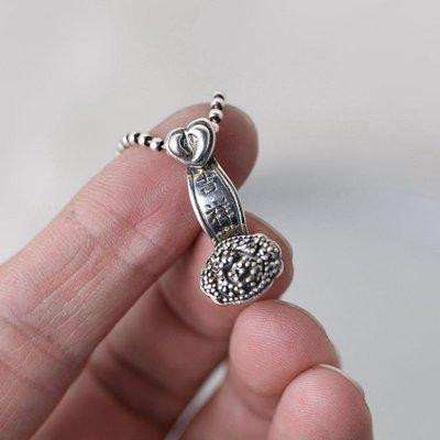金鹿王S925銀復古銀飾項鏈墜發女款泰銀如意吉祥馬克賽石吊墜