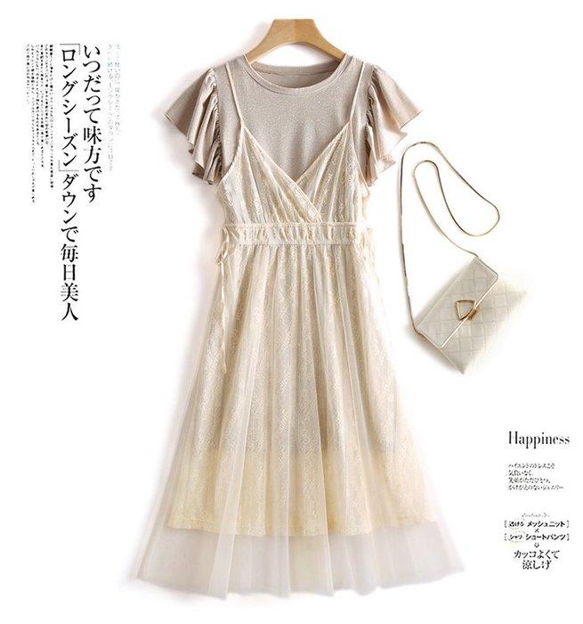 【木風小舖】二件式:荷葉袖亮絲洋裝+網紗背心裙*米