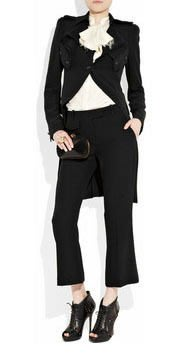 Alexander McQueen Crepe frock coat 皺折雙排釦外套IT38黑(原價145800)