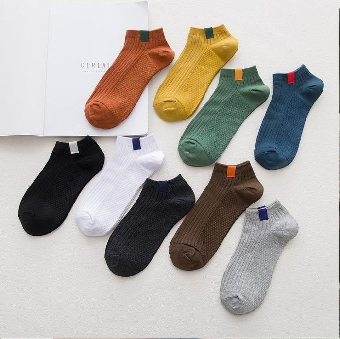 韓版低幫創意船襪 男士淺口純棉復古訂標襪子 雙針工藝