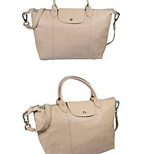 9.9成新 購於德國 LONGCHAMP LE PLIAGE LEDER 小羊皮 裸色 奶茶色 M  專櫃售價20800