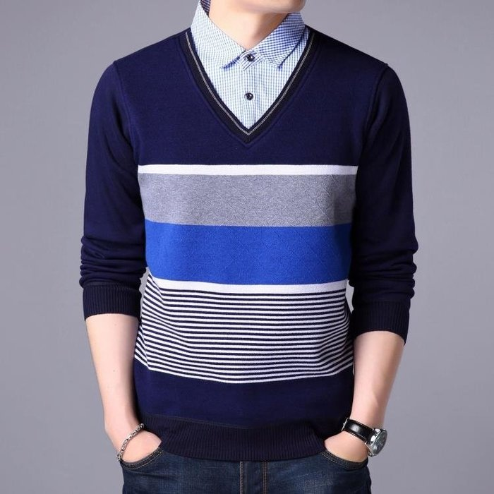 套頭衫男生毛衣 秋冬中男裝長袖t恤套頭薄款襯衣領假兩件條紋打底衫男針織衫t6515