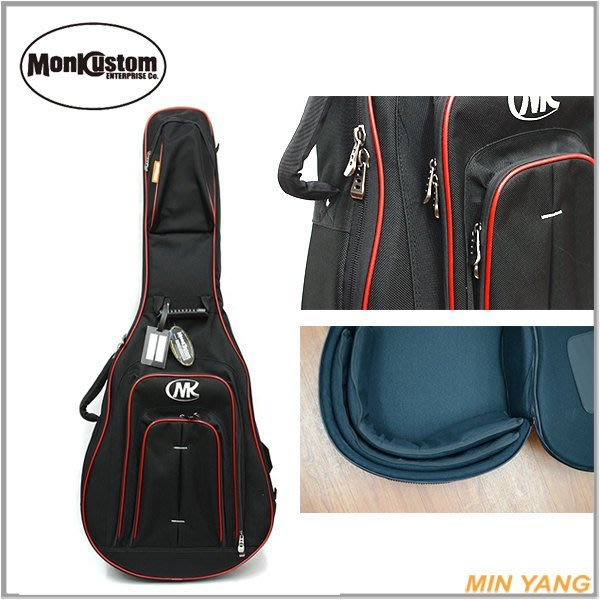 【民揚樂器】民謠吉他袋 MONK CDGB1200WR 黑色紅邊