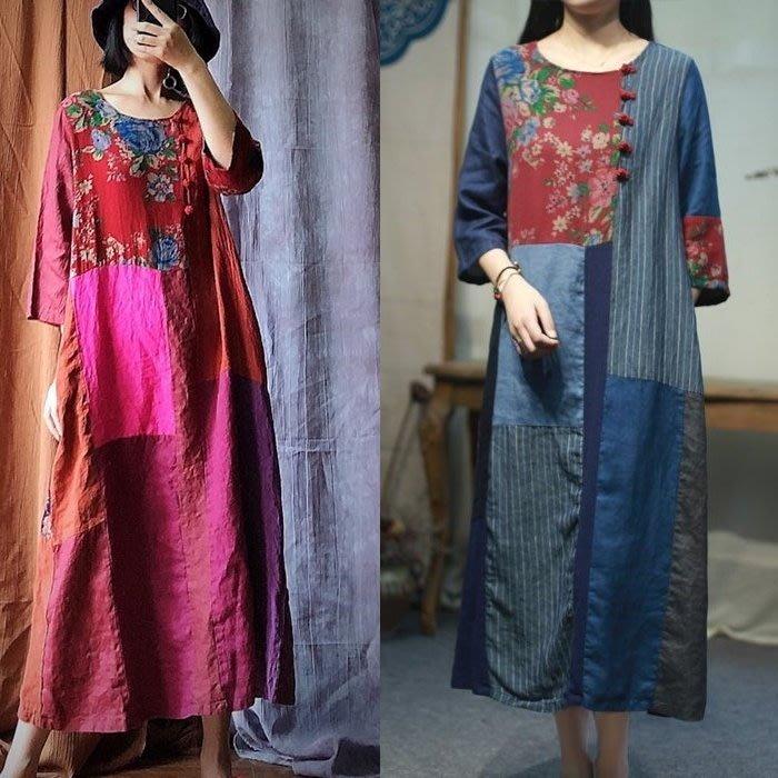 【子芸芳】原創個性拼布亞麻寬鬆顯瘦連衣裙袍子