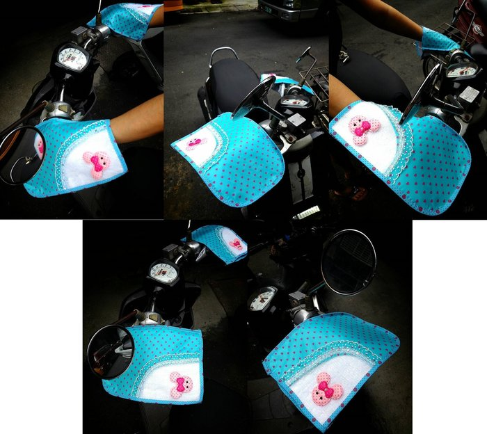 Q朵米-機車 腳踏車 純手工製作可愛 防曬手把套 握把套 扶手套 摩托車把手套 防曬 隔熱