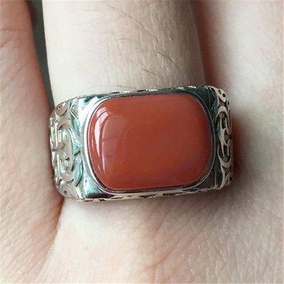 仙記銀坊純天然涼山柿子紅火焰紋南紅瑪瑙戒指男款 925純銀指環飾品飾品