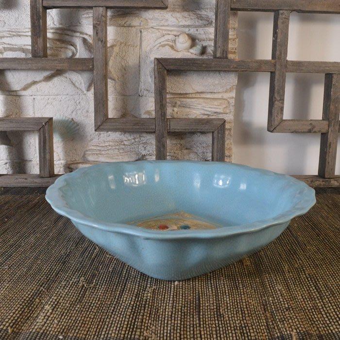 百寶軒 仿古瓷器復古做舊宋汝窯風格天青釉菊瓣洗古董古玩擺件收藏品 ZK1770