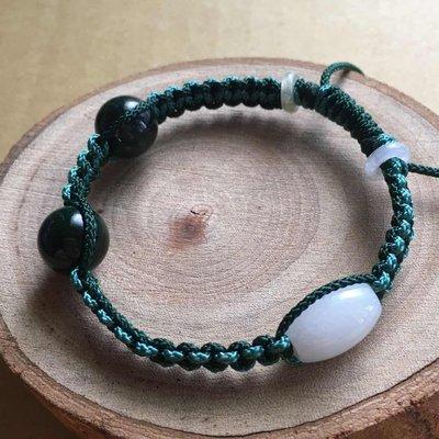 【老店鋪】《現貨區‧促銷回饋不議價》天然老墨玉翡翠玉珠設計手鍊