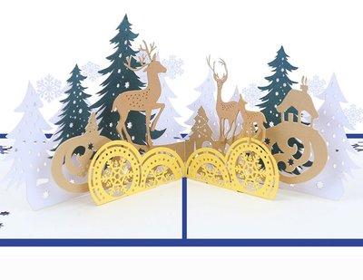 樂芙 聖誕節卡片 聖誕森林 * 耶誕卡 生日卡 迎賓卡 邀請卡 明信片 賀年卡 3D 立體紙雕 麋鹿 雪人 聖誕老公公