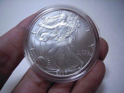 ((UNC-未使用))美國=2007年自由女神ONE DOLLAR銀幣1oz-永久保真