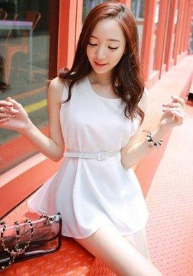 韓版可愛露肩連身裙雪紡上衣 J-11636