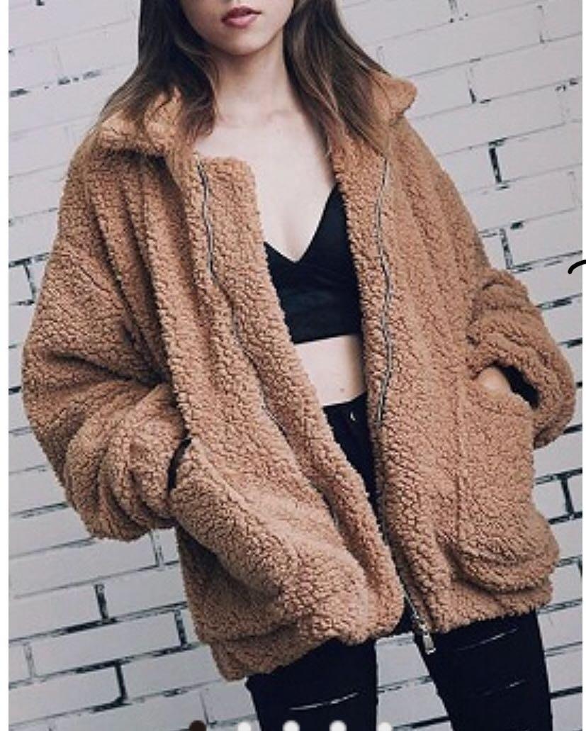PapaDarling 17 潮牌可愛羔羊毛毛外套 連帽外套